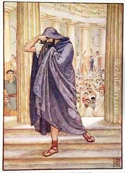 He left the assembly hiding his face in his cloak Oil Painting - Walter Crane