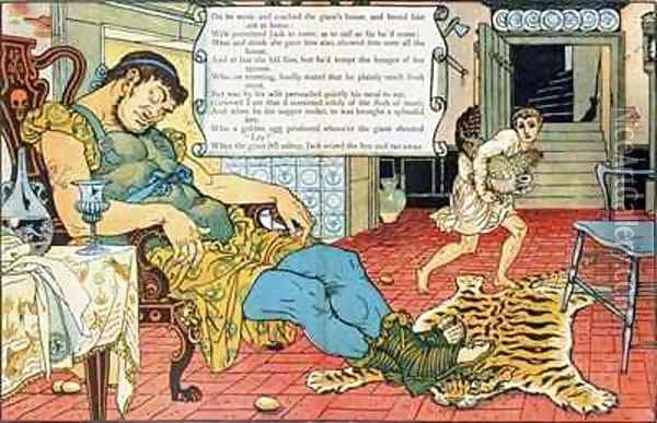 Jack and the Beanstalk Oil Painting - Walter Crane