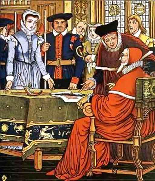 Mrs Margery is charged with witchcraft from Little Goody Two Shoes Oil Painting - Walter Crane