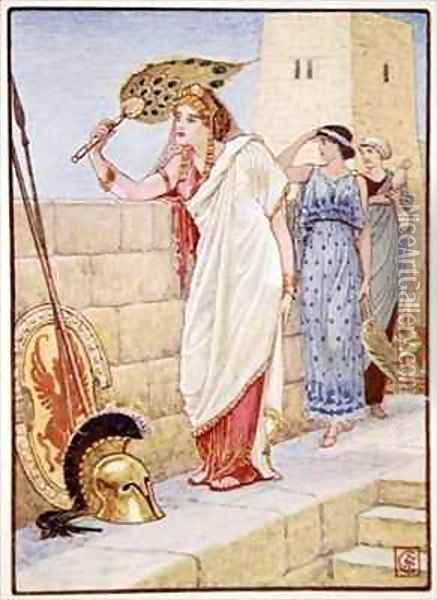 Often she would stand upon the walls of Troy Oil Painting - Walter Crane