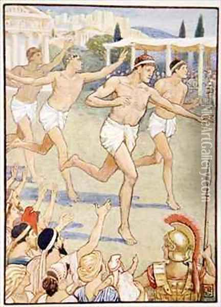 In earliest times a simple foot race was the only event Oil Painting - Walter Crane