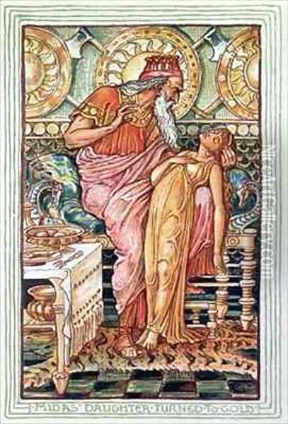 King Midas and his Daughter Turned to Gold Oil Painting - Walter Crane