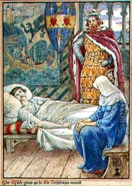 The Witch Gives Advice as to Sir Tristrams Wound Oil Painting - Walter Crane