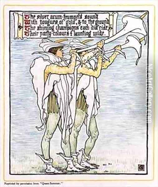 Trumpeters with Lilies Oil Painting - Walter Crane