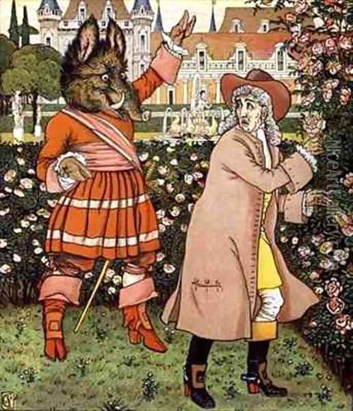 Illustration from Beauty and the Beast Oil Painting - Walter Crane