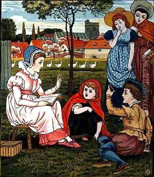 Mrs Margery teaches the children to read from Little Goody Two Shoes Oil Painting - Walter Crane