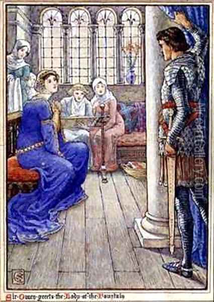 Sir Owen Greets the Lady of the Fountain Oil Painting - Walter Crane