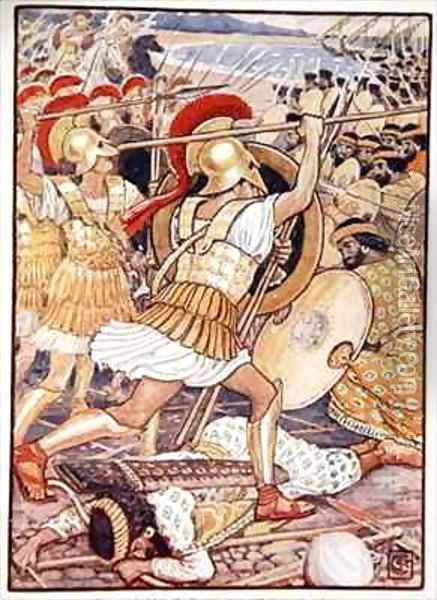 They Crashed into the Persian Army with Tremendous Force Oil Painting - Walter Crane