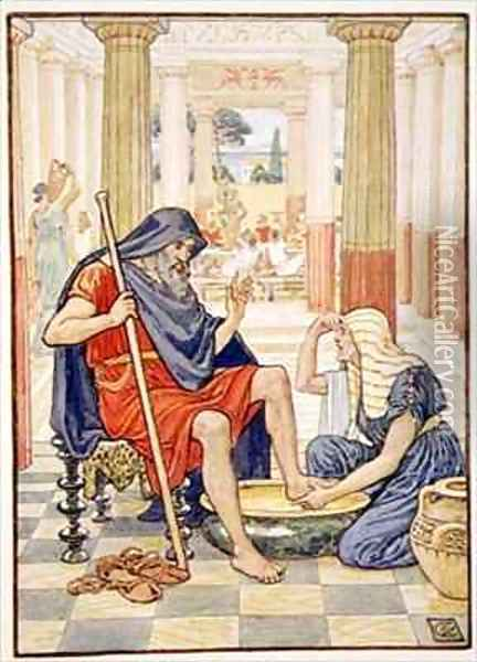 Yea verily thou art Odysseus Oil Painting - Walter Crane