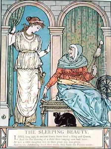The Princess and the old woman with the spinning wheel Oil Painting - Walter Crane