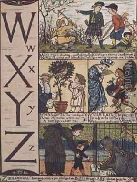 W to Z from an alphabet based on old nursery rhymes Oil Painting - Walter Crane