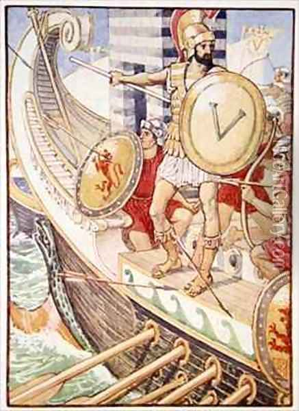 He became a target for every arrow Oil Painting - Walter Crane