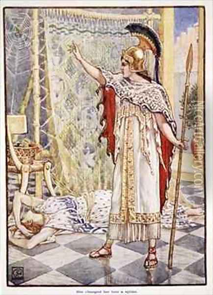 She changed her into a spider Oil Painting - Walter Crane