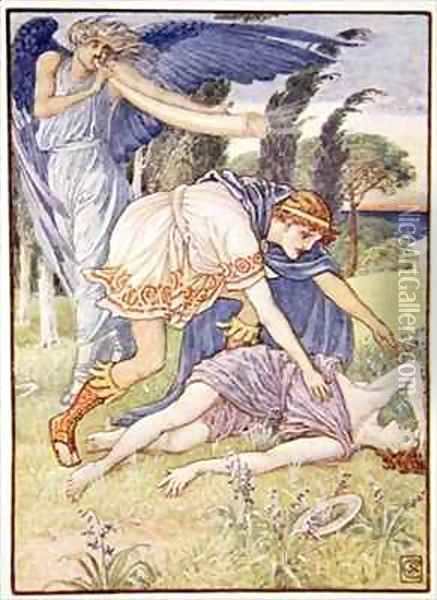 The wind god sent a gust from the south Oil Painting - Walter Crane
