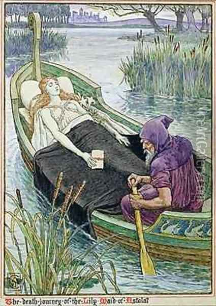 The Death Journey of the Lily Maid of Astolat 2 Oil Painting - Walter Crane