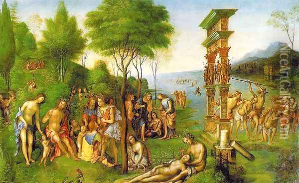 The Reign of Comus (begun by Mantegna, most work done by Costa after Mantegna's death) Oil Painting - Lorenzo Costa