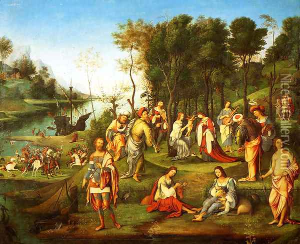 The Garden Of The Peaceful Arts (or Allegory Of The Court Of Isabelle D'Este) Oil Painting - Lorenzo Costa