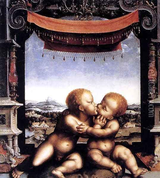The Infants Christ and Saint John the Baptist Embracing 1525-30 Oil Painting - Joos Van Cleve
