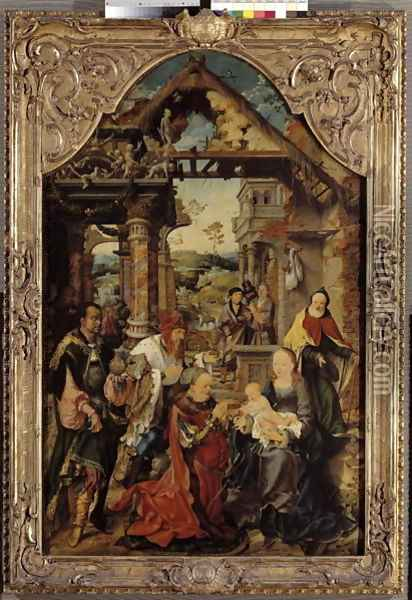 Adoration of the Magi, c.1513 Oil Painting - Joos Van Cleve