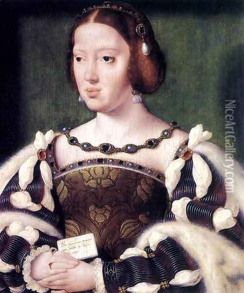 Portrait of Eleonora, Queen of France c. 1530 Oil Painting - Joos Van Cleve