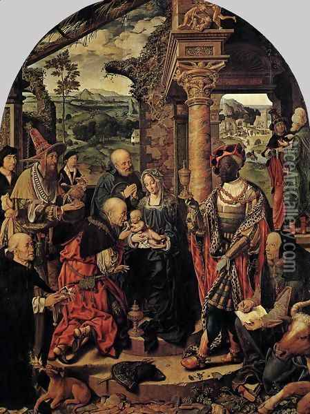 Adoration of the Magi 1526-28 Oil Painting - Joos Van Cleve