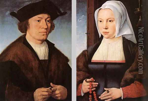 Portrait of a Man and Woman 1520 and 1527 Oil Painting - Joos Van Cleve