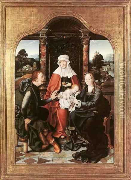St Anne with the Virgin and Child and St Joachim Oil Painting - Joos Van Cleve