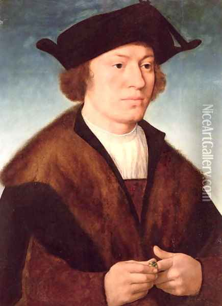 Portrait of an Unknown Man, 1520 Oil Painting - Joos Van Cleve