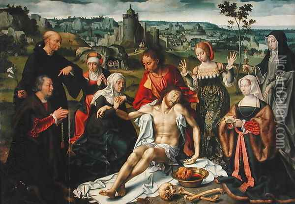 The Lamentation of Christ, central panel from an altarpiece Oil Painting - Joos Van Cleve