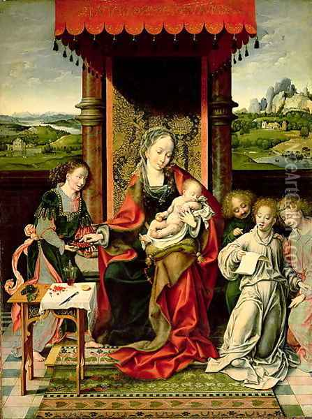 The Virgin and Child with Angels Oil Painting - Joos Van Cleve
