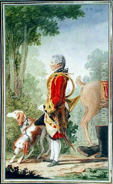Monsieur de Bois-Massot, huntsman to the Duke of Orleans in Hunting Costume, 1764 Oil Painting - Louis Carrogis Carmontelle