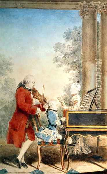 Leopold Mozart (1719-87) and his two children, Wolfgang Amadeus (1756-91) and Maria-Anna, known as 'Nannerl' (1751-1829) Oil Painting - Louis Carrogis Carmontelle