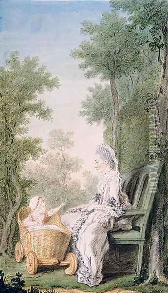 Adelaide Mancini, Duchess of Cosse, and her Daughter, Madame de Portemar as a Child, 1766 Oil Painting - Louis Carrogis Carmontelle
