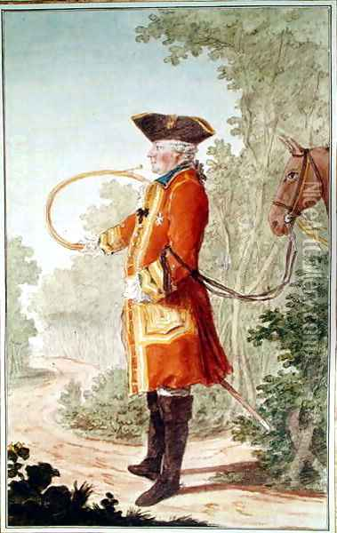 Bailli of Champignelles, huntsman to the Duke of Orleans in Hunting Costume, 1764 Oil Painting - Louis Carrogis Carmontelle