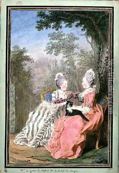 The Countess of Boufflers and the Duchess of Lauzun, 1769 Oil Painting - Louis Carrogis Carmontelle