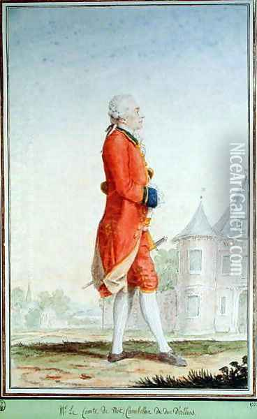 Louis de Noe, Governor of Bordeaux and Chamberlain to the Duke of Orleans, 1769 Oil Painting - Louis Carrogis Carmontelle