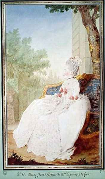 Madame de Mauny Lady in Waiting to the Princess of Conti Oil Painting - Louis Carrogis Carmontelle