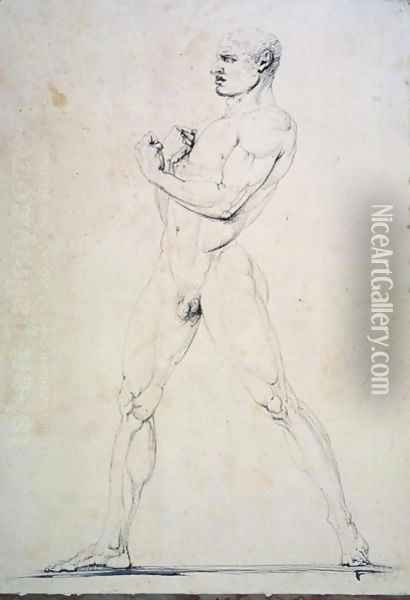 Male Nude, Damoxenos of Syracuse, from Pausanias's description of the Nemean Games in his 'Itinary' of Greece (2nd century BC), 1794 Oil Painting - Antonio Canova