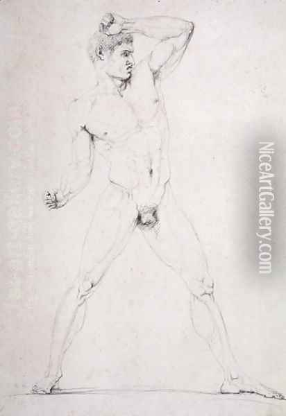 Male Nude, Creugas of Durazzo, from Pausanias's description of the Nemean Games in his 'Itinary' of Greece, 1794 Oil Painting - Antonio Canova