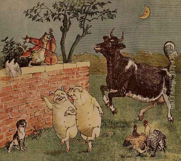 The Cat and the Fiddle and the Cow - Illustrations from Hey Diddle Diddle Oil Painting - Randolph Caldecott