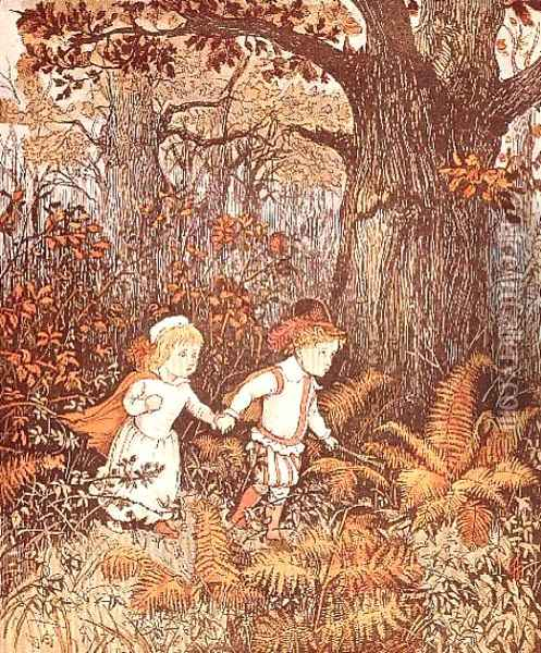 Babes in the Wood (2 children walking in the wood) Oil Painting - Randolph Caldecott