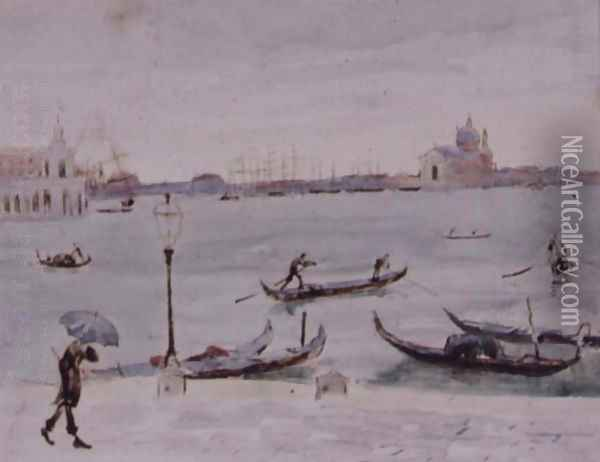 The Customs House and the Church of San Giorgio, Venice, Seen from the Piazzetta Oil Painting - Randolph Caldecott
