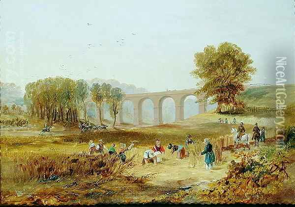 Corby Viaduct, the Newcastle and Carlisle Railway, 1836 Oil Painting - James Wilson Carmichael