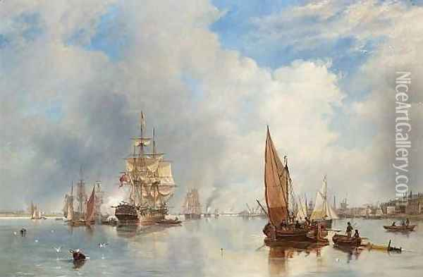 On the Thames at Woolwich, with the 'Buckinghamshire' Indiaman going down the river 1842 Oil Painting - James Wilson Carmichael