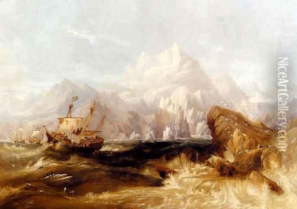Sir Martin Frobisher's Ships Aid, Michael, And Gabriel On The Second Voyage To Greenland, 1577 Oil Painting - James Wilson Carmichael