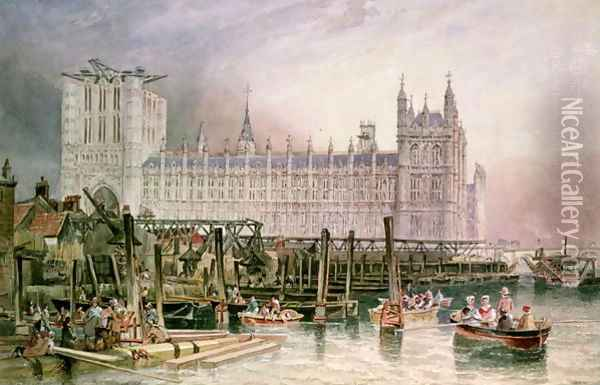 The Houses of Parliament in Course of Erection Oil Painting - James Wilson Carmichael