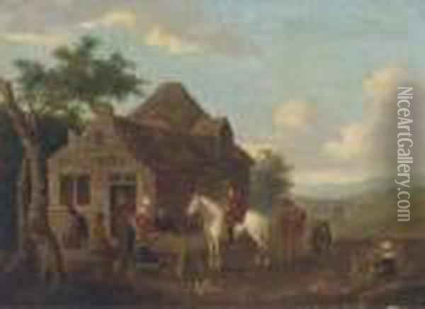 Travellers At Halt By A Cottage Oil Painting - Barent Gael