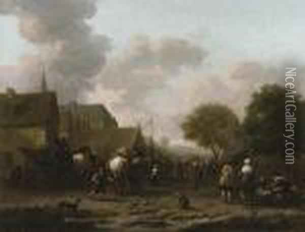 A Village Landscape With Travellers On The Street By A Vegetableseller Oil Painting - Barent Gael
