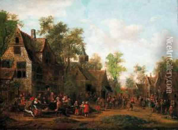 A Kermesse In A Village Oil Painting - Barent Gael