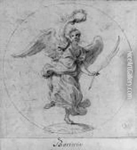 Victory: Design For The Obverse  Of A Medal Dedicated To Queenchristina Of Sweden; And Virtue Subduing  Evil: Design For Theobverse Of A Medal Dedicated To Cardinal Decio  Azzolini Inscribed 'imperio Et Virtute' (2) And Numbered '131' (2) And  Within Oil Painting - Giovanni Battista (Baciccio) Gaulli